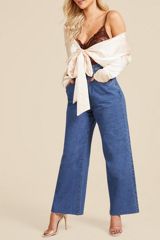 Cinched In High Waist Crop Wide Leg Jeans