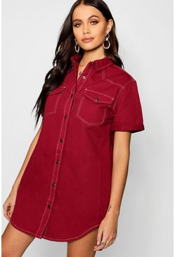 Womens Burgundy Roll Sleeve Contrast Stitch Denim Shirt