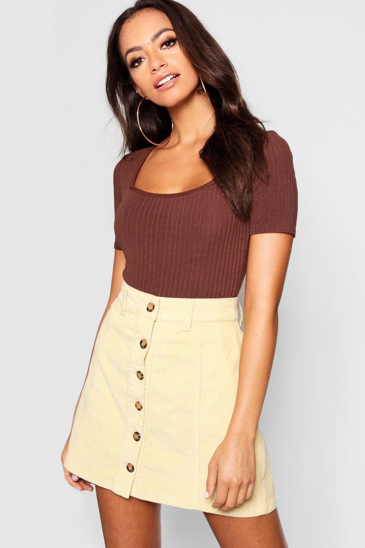 Mock Horn Button Through Cord Skirt
