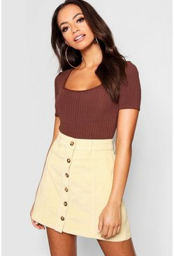 Womens Mustard Mock Horn Button Through Cord Skirt