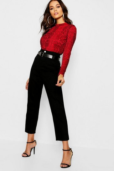 Womens Black Belted High Waist Mom Jeans