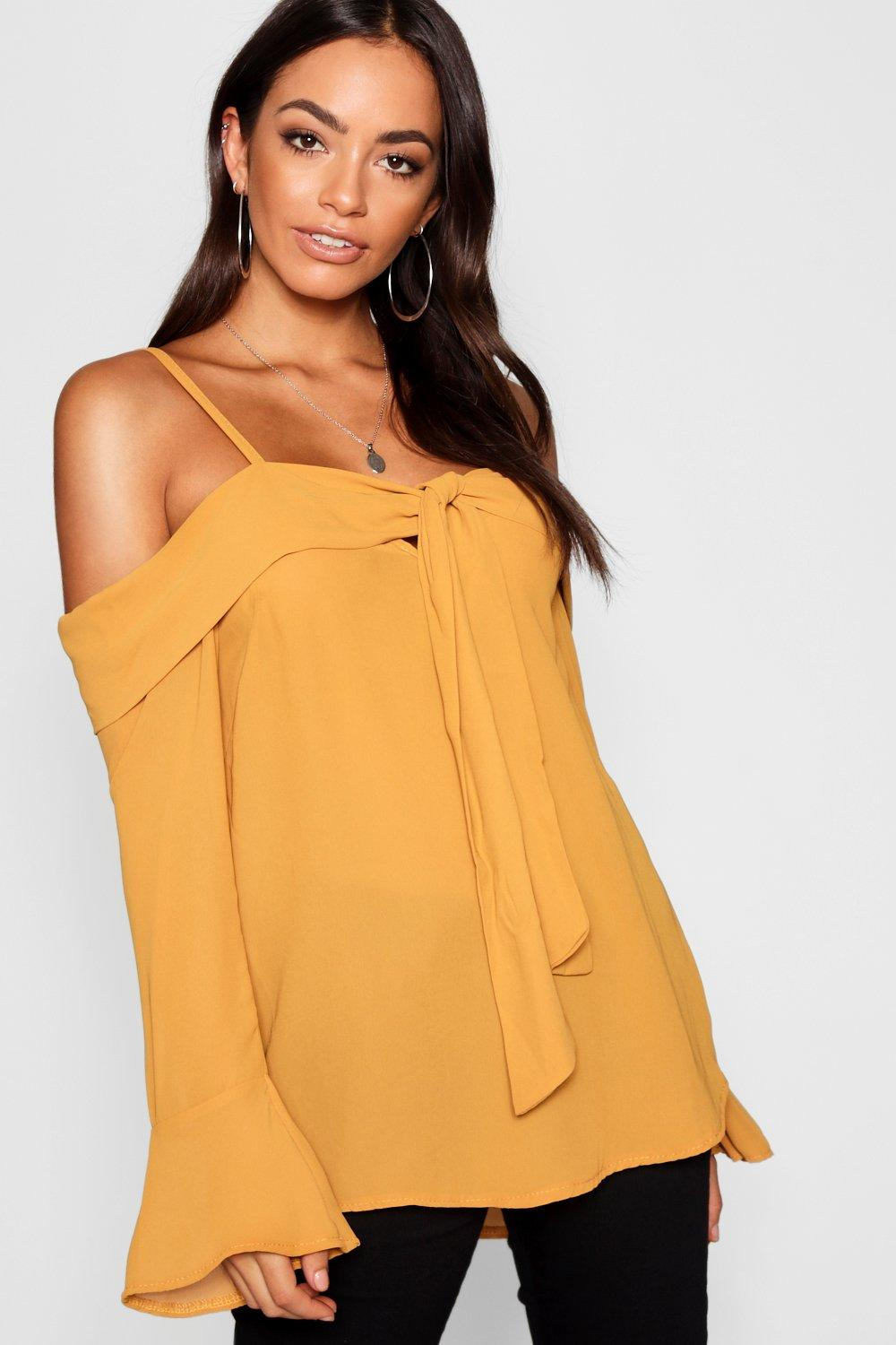 6687aed166dab Tie Knot Detail Cold Shoulder Woven Blouse. Hover to zoom