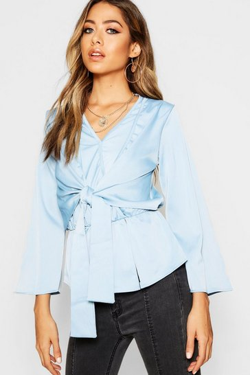 Womens Ocean blue Hammered Satin Tie Detail Pep Hem Blouse