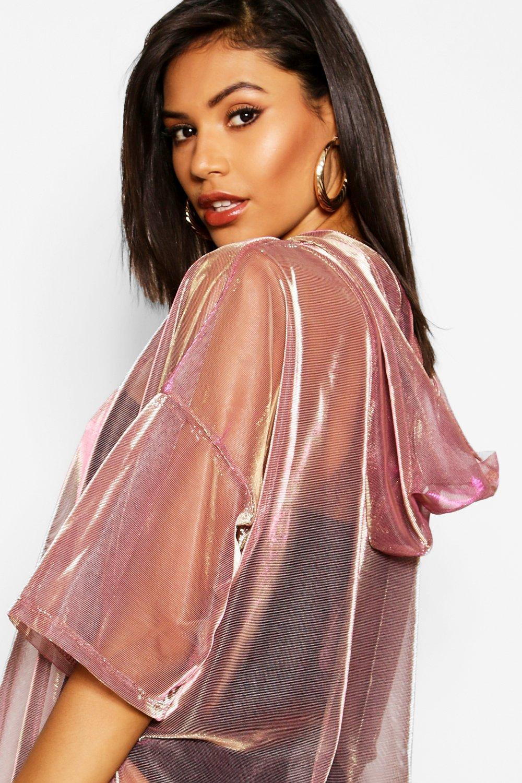 rosado oro iridiscente transparente con ancha capucha Sudadera PYwqO4ax