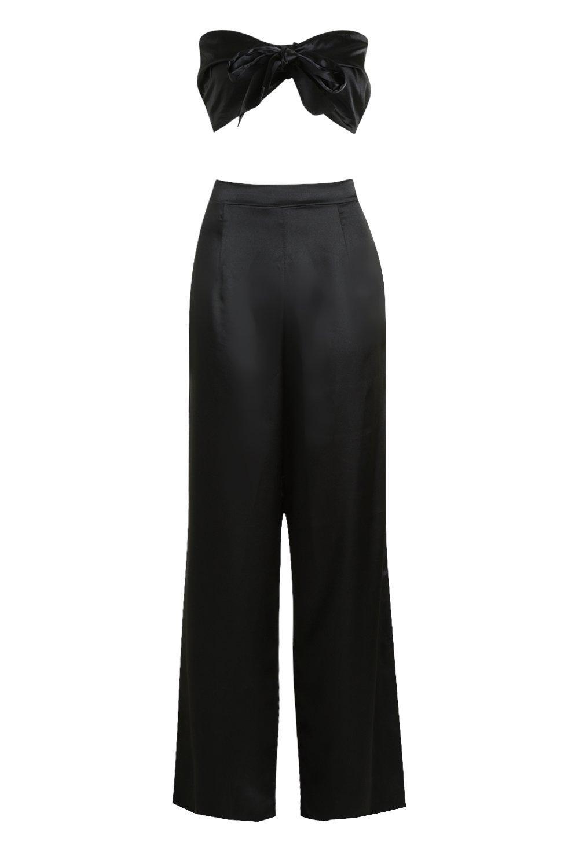 en corto delante negro por Conjunto de satén con top nudo acampanados pantalones y BZfqWTZ