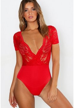 Womens Red Lace Wrap Short Sleeve Bodysuit