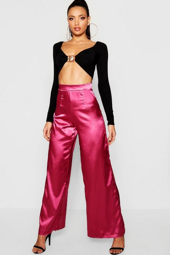 Womens Berry Satin Wide Leg Trouser