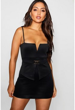 Womens Black V Bar Buckle Detail Peplum Dress