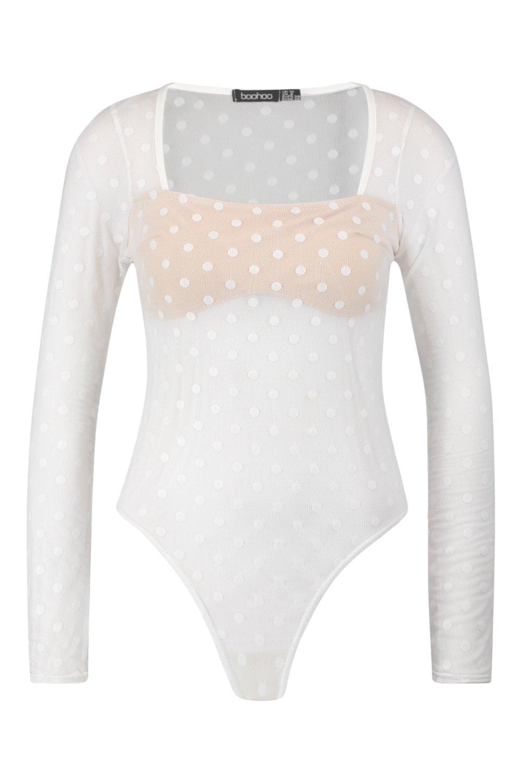Spotty white Panelled Spotty Bodysuit white Mesh Panelled Mesh Bodysuit Spotty 6RF6qrgSHw