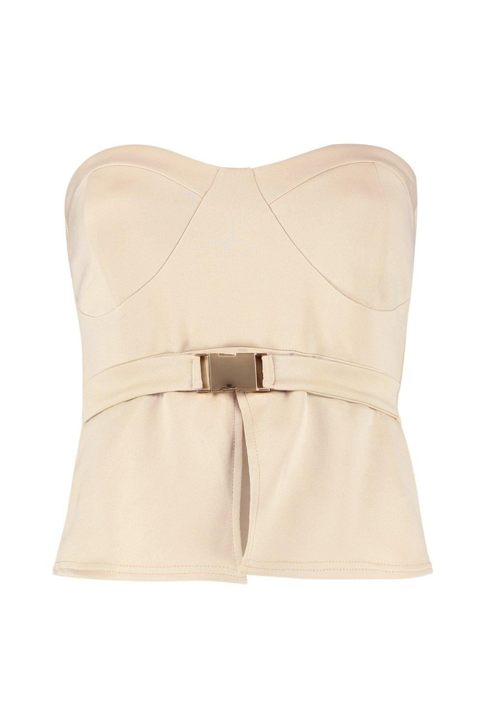 Top Detail Buckle Peplum Detail stone Peplum Buckle Top dvqPwBYYT