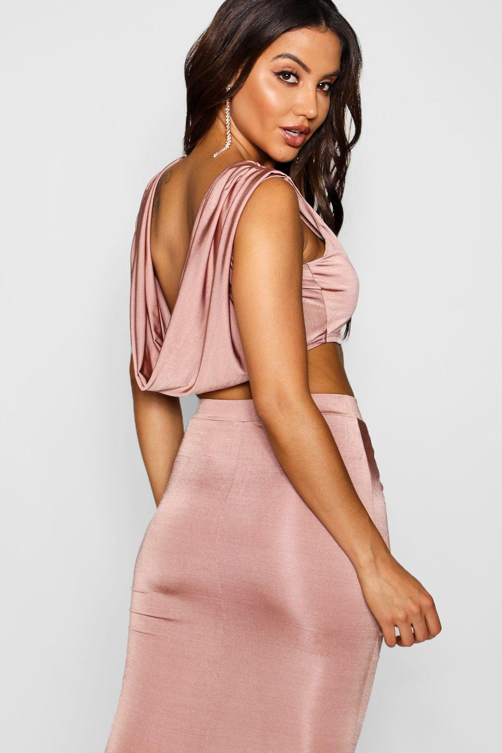nude Crop Slinky Back Cowl Top W4XvXwBUq