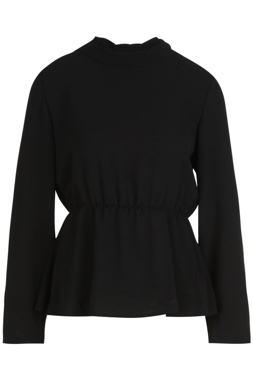 alto de bajo Blusa negro péplum con cuello 6wqf8fEB