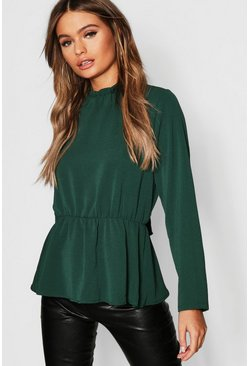 Womens Bottle green High Neck Peplum Hem Blouse