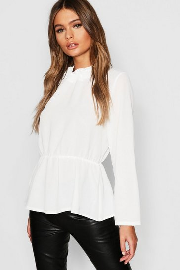 Womens Ecru High Neck Peplum Hem Blouse