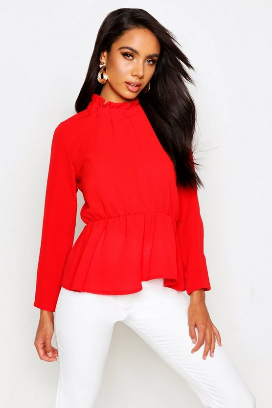 Womens Red High Neck Peplum Hem Blouse