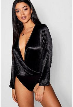 Womens Black Hammered Satin Bodysuit