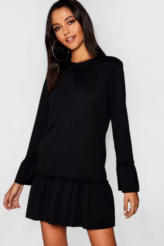 Womens Ruffle Hem Shift Dress