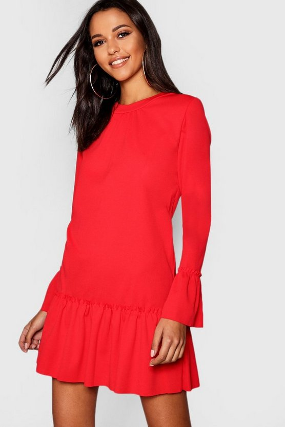 Womens Red Ruffle Hem Shift Dress