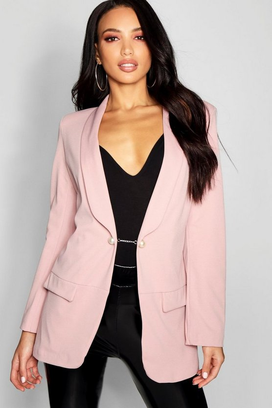 Womens Blush Pearl Detail Blazer