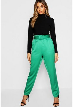 Womens Green Satin Belted Trouser