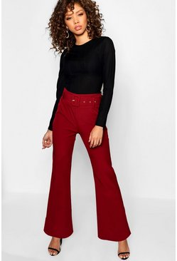 Womens Burgundy Kick Flare Wide Leg Trouser