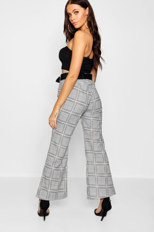 cuadros gris con capri a cinturón Pantalones ZBUzTz