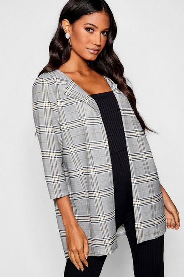 Grey Checked Edge To Edge Jacket