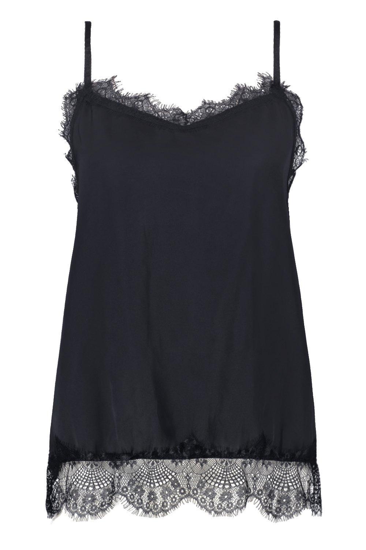 camisola encaje en estilo con satén negro Top labrado de detalle FHq5a