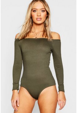 Khaki Off Shoulder Jumbo Rib Bodysuit