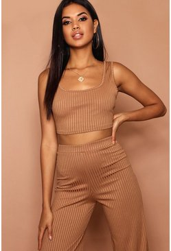 Womens Camel Scoop Jumbo Rib Crop