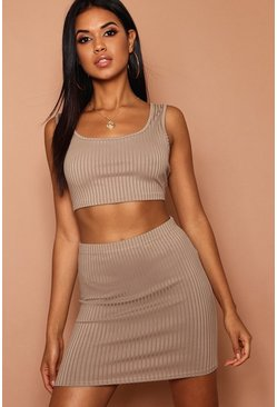 Womens Khaki Scoop Jumbo Rib Crop