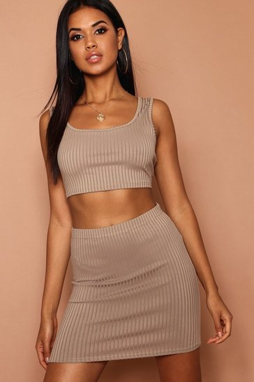 Khaki Scoop Jumbo Rib Crop