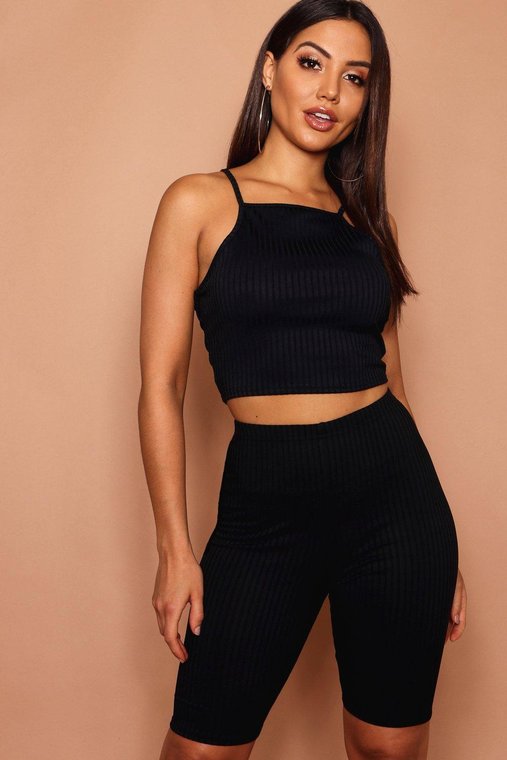 e87fa36ec5032 High Neck Crop Top In Jumbo Rib. Hover to zoom