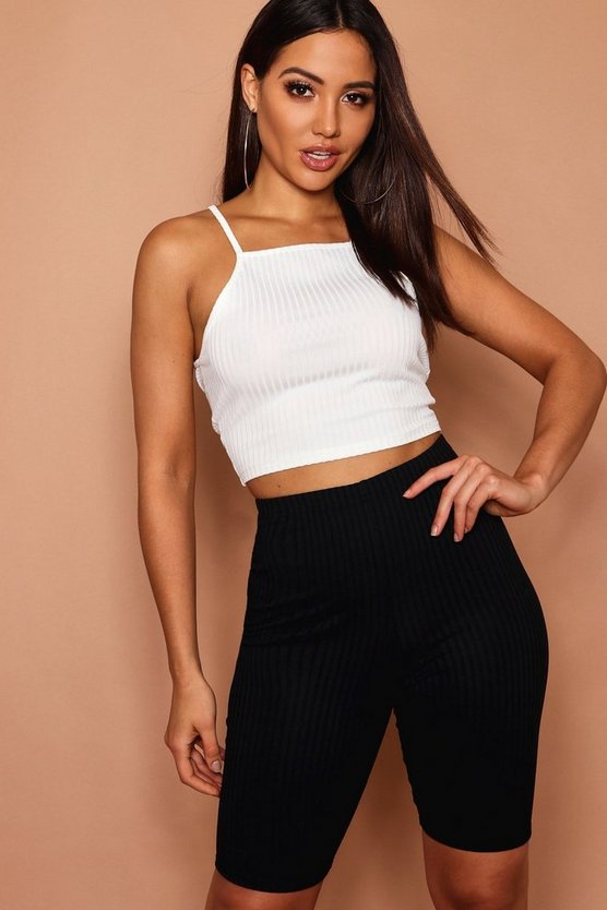 Womens Nude High Neck Crop Top In Jumbo Rib