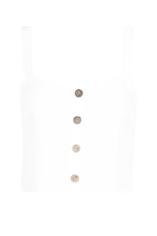 con y cuerno blanco Top cuello cuadrado de botones qRnAadw