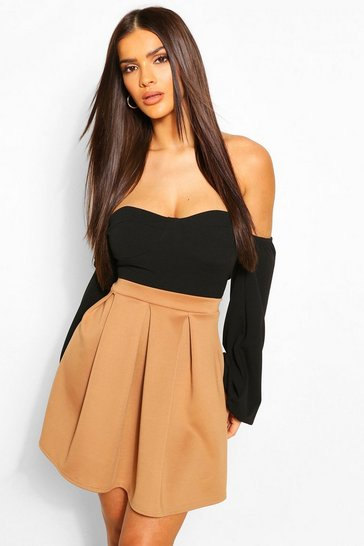 Womens Camel Basic Box Pleat Skater Mini Skirt