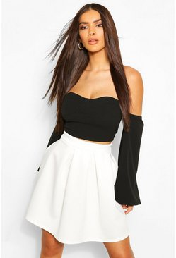 Womens Ivory Basic Box Pleat Skater Mini Skirt