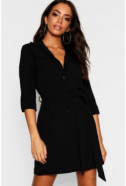 Womens Black Pocket Detail Roll Sleeve Shirt Dress