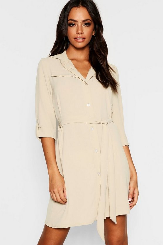 Pocket Detail Roll Sleeve Shirt Dress