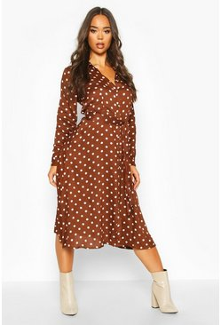 Womens Chocolate Woven Midi Shirt Dress Spot Print