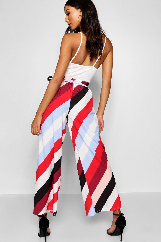 rayas diagonales multicolor acampanados Pantalones a tejidos qxYIp4t