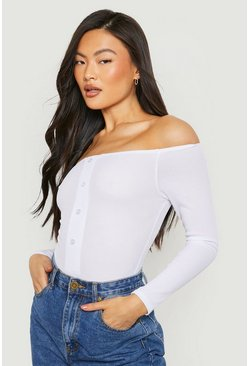 Womens White Bardot Rib Horn Button Long Sleeve Bodysuit
