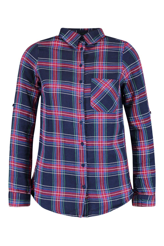 detalle Camisa marino cuadros Azul bolsillo con a de wTTfqtp