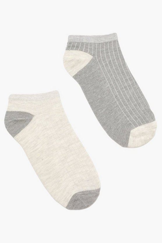 Glitter Trim Trainer Socks 2 Pack