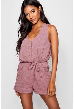 Berry Horn Button Down Pocket Romper