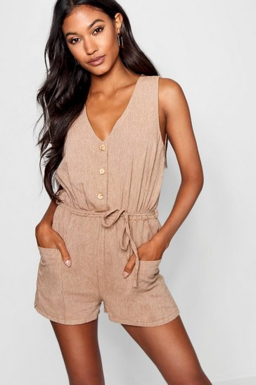Womens Tobacco Horn Button Down Pocket Playsuit