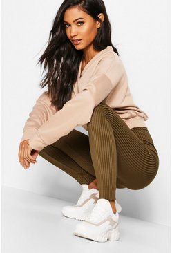 High-waist Leggings in Jumbo Ripp, Khaki, Damen
