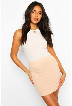Womens Nude Basic Jumbo Rib Mini Skirt