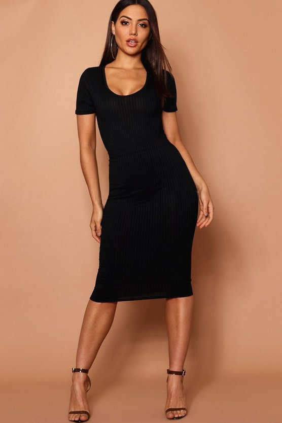 Womens Black Jumbo Rib Midi Skirt