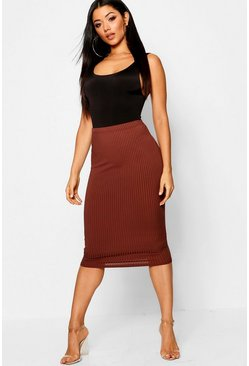 Womens Chocolate Jumbo Rib Midi Skirt
